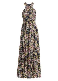 ML Monique Lhuillier Floral Georgette Pleated Maxi Dress