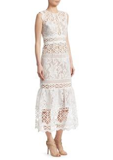 ML Monique Lhuillier Floral Lace Dress