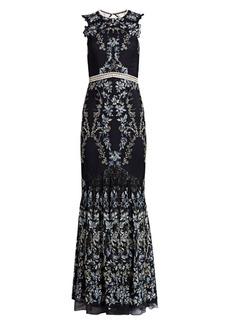 ML Monique Lhuillier Floral Lace Gown