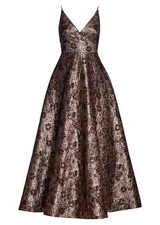 ML Monique Lhuillier Floral Metallic Jacquard Gown