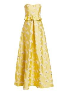 ML Monique Lhuillier Floral Strapless Peplum Gown
