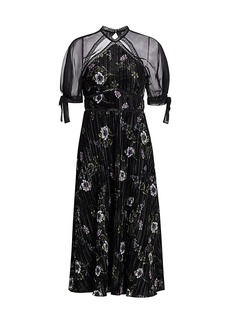 ML Monique Lhuillier Floral Velvet Short-Sleeve Midi Dress
