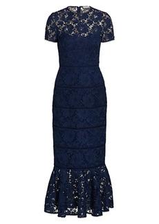 ML Monique Lhuillier Fluted Lace Midi Dress