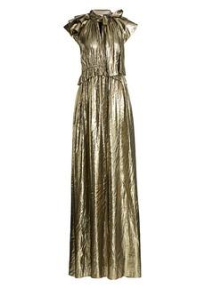 ML Monique Lhuillier Flutter Sleeve Tieneck Metallic Gown