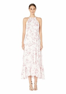 ML Monique Lhuillier Freesia Floral Print Halter Full-Length Dress