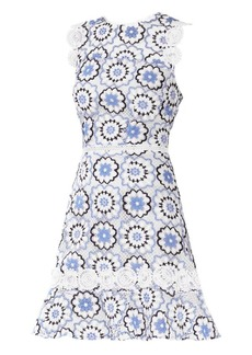 ML Monique Lhuillier Guipure Lace Fit-&-Flare Dress