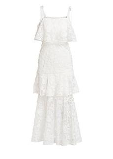 ML Monique Lhuillier Lace Overlay Tiered Midi Dress