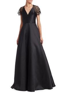 ML Monique Lhuillier Lace-Sleeve A-Line Gown