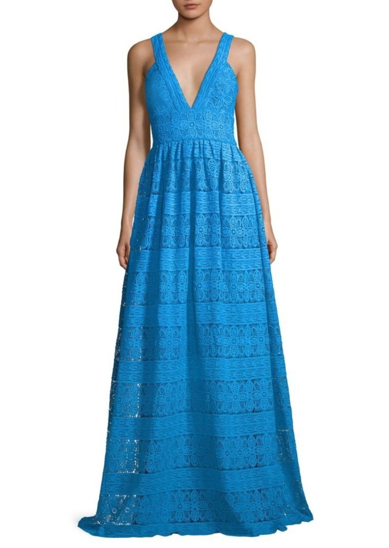 ML Monique Lhuillier Lace V-Neck Gown