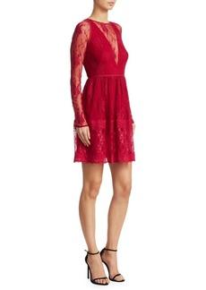 ML Monique Lhuillier Long Sleeve Fit-&-Flare Lace Dress