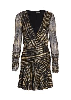ML Monique Lhuillier Long-Sleeve Metallic Dress