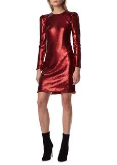 ML Monique Lhuillier Long-Sleeve Sequin Mini Dress