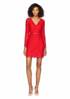 ML Monique Lhuillier Long Sleeve V-Front Cocktail Dress
