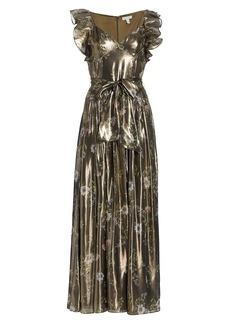 ML Monique Lhuillier Metallic Flutter-Sleeve Gown