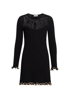 ML Monique Lhuillier Metallic Knit Long-Sleeve Dress