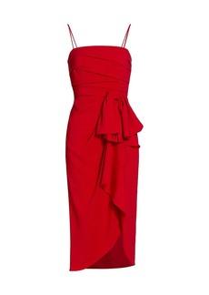 ML Monique Lhuillier Bow Drape Wrap Midi Dress
