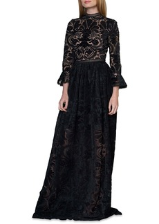 ML Monique Lhuillier Burnout Velvet Gown