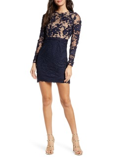 ML Monique Lhuillier Calypso Long Sleeve Lace Cocktail Dress