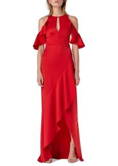 ML Monique Lhuillier Cold-Shoulder Column Gown w/ Ruffle Skirt