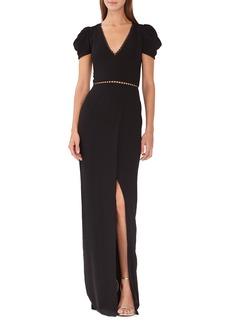 ML Monique Lhuillier Draped Sleeve Crepe Evening Dress