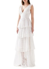 ML Monique Lhuillier Embroidered Ruffle Tiered Evening Gown