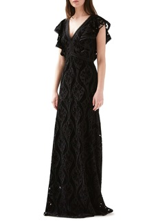 ML Monique Lhuillier Embroidered Velvet Gown
