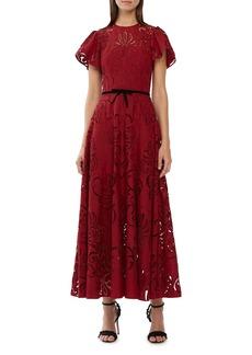ML Monique Lhuillier Eyelet Embroidery Tea Length Dress