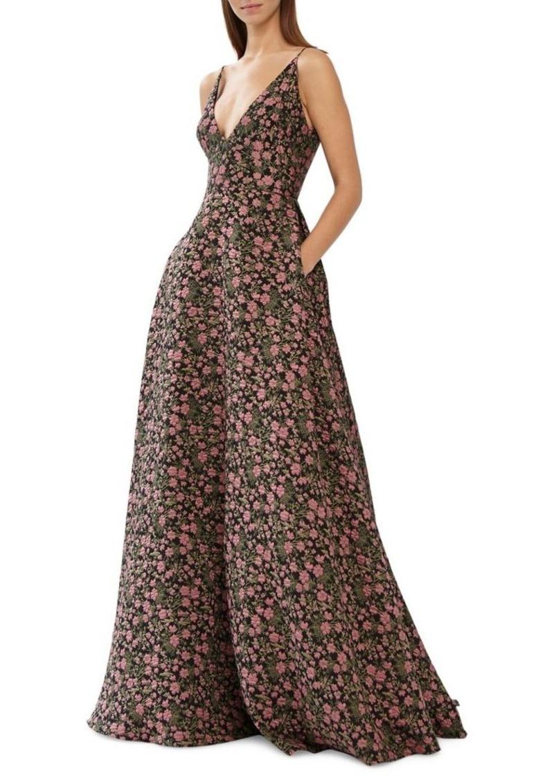 ML Monique Lhuillier Floor-Length Jacquard Ball Gown
