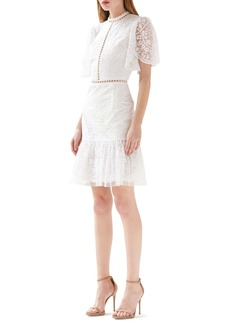 ML Monique Lhuillier Floral Embroidered Cocktail Dress