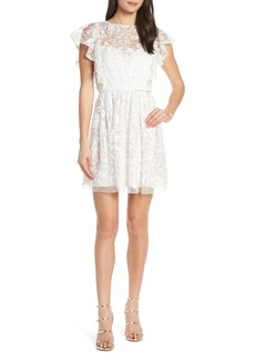 ML Monique Lhuillier Floral Embroidery Ruffle Party Dress