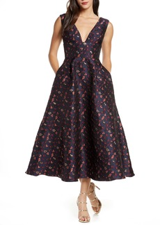 ML Monique Lhuillier Floral Jacquard A-Line Dress (Nordstrom Exclusive)