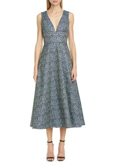 ML Monique Lhuillier Floral Jacquard Sleeveless Midi Dress
