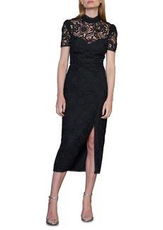 ML Monique Lhuillier Floral Lace Midi Cocktail Dress