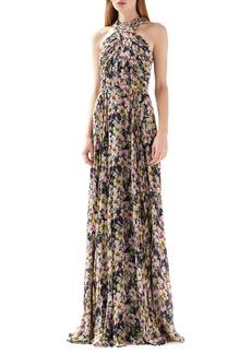 ML Monique Lhuillier Floral Print Halter Neck Gown