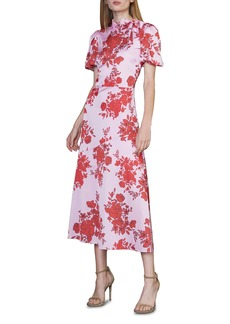 ML Monique Lhuillier Floral Satin Dress