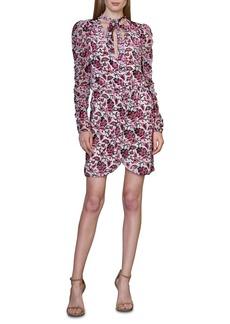 ML Monique Lhuillier Floral Velvet Burnout Long Sleeve Cocktail Dress