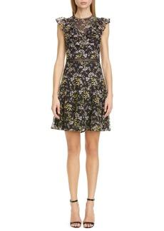 ML Monique Lhuillier Flutter Sleeve Floral Embroidered Cocktail Dress