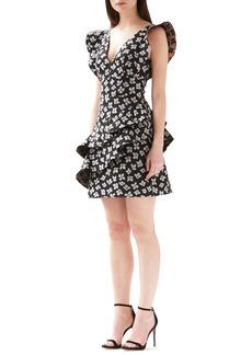 ML Monique Lhuillier Jacquard Floral Ruffle Dress