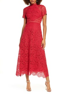 ML Monique Lhuillier Lace Midi Cocktail Dress