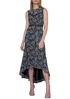 ML Monique Lhuillier Lace Sleeveless High/Low Midi Dress