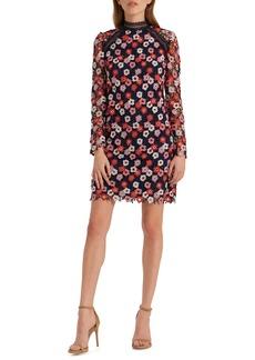 ML Monique Lhuillier Long Sleeve Crochet Lace Minidress