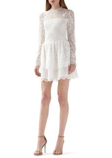 ML Monique Lhuillier Long Sleeve Lace Minidress