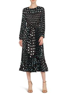 ML Monique Lhuillier Long Sleeve Polka Dot Midi Dress
