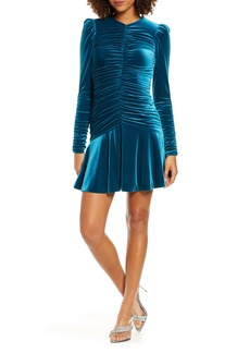 ML Monique Lhuillier Long Sleeve Ruched Cocktail Dress