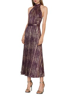 ML Monique Lhuillier Metallic Halter Midi Dress