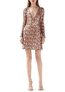 ML Monique Lhuillier Multicolor Sequin Long Sleeve Dress