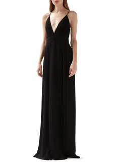 ML Monique Lhuillier Pleated Gown