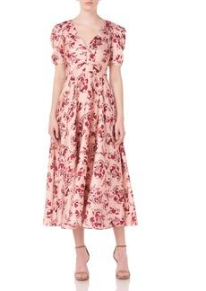 ML Monique Lhuillier Printed Floral Midi Dress