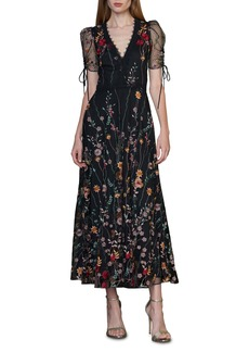ML Monique Lhuillier Puff Sleeve Embroidered Midi Dress