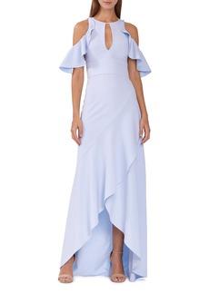 ML Monique Lhuillier Ruffle Cold Shoulder Gown